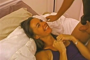 Small Tits Brunette Gets A Cumshot After A Wild Bed Sex Shoot